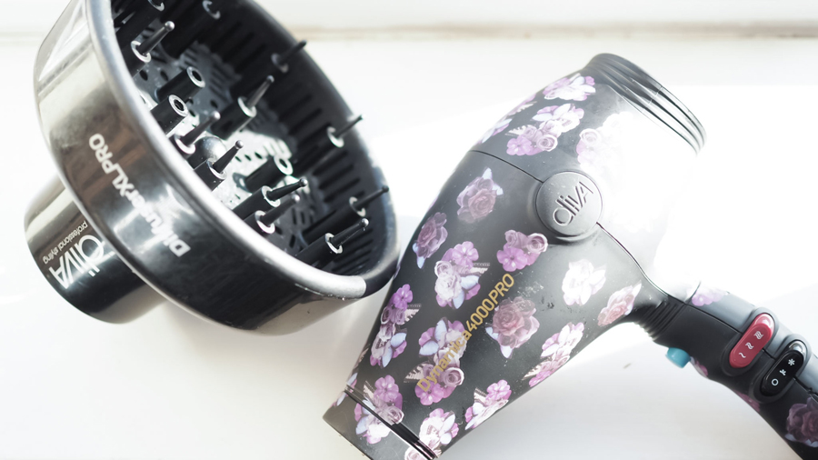 diva hairdryer and diffuser for curly hair